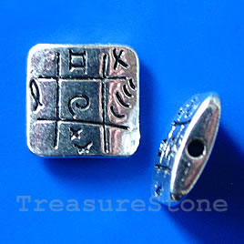 Bead, silver-finished, 12x3mm square. Pkg of 6.