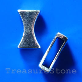Bead, antiqued silver-finished, slider, 8x13x5mm. Pkg of 8.