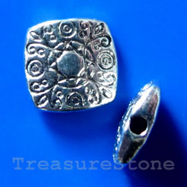 Bead, silver-finished, 10x3mm flat square. Pkg of 12.
