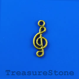 Charm/pendant, brass-plated, 8x20mm treble clef. Pkg of 14.