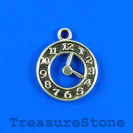 Charm/pendant, silver-plated, 18mm clock. Pkg of 8