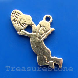"Pendant/charm, 18x29mm ""Be Mine"". Pkg of 5."