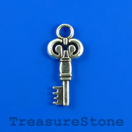 Charm/Pendant, 12x23mm silver-colored key. Pkg of 5.