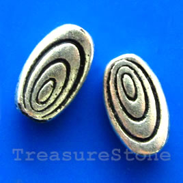 Bead, silver-finished, 5x9x2mm flat oval. Pkg of 15.