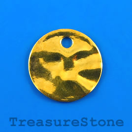 Pendant/charm, gold-finished, 19mm hammered disk. Pkg of 6.