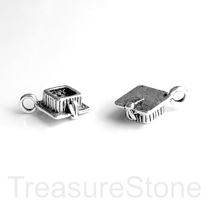 Charm/Pendant, silver-plated, 5x8mm Graduation hat. Pkg of 8.