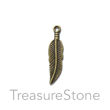 Charm/pendant, brass colored, 8x26mm feather. Pkg of 12