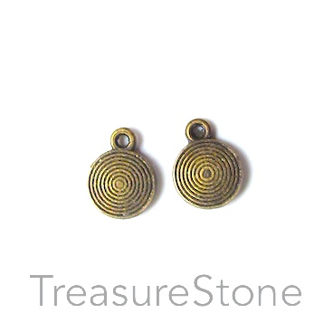 Charm, brass-finished, 9mm swirl disk. Pkg of 15.
