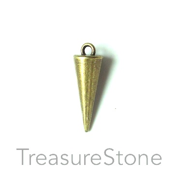 Charm/Pendant, brass-plated, 8x20mm spike. Pkg of 10