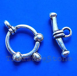 Clasp, toggle, antiqued silver-finished,13mm. Pkg of 12.