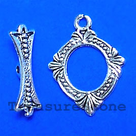 Clasp, toggle, antiqued silver-finished, 14/17mm. Pkg of 12.