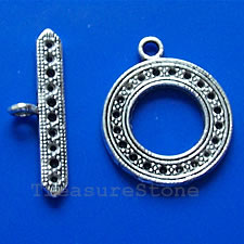 Clasp, toggle, antiqued silver-finished, 24mm. Pkg of 3.