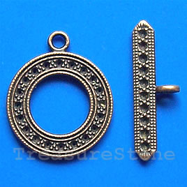 Clasp, toggle,antiqued copper-finished, 24mm. Pkg of 3.