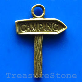 Pendant/charm, brass-finished,15x18mm camping. Pkg of 8.