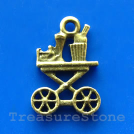 Pendant/charm, brass-finished, 15x20mm cart. Pkg of 6.