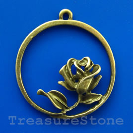 Pendant/charm, brass-finished, 33mm Rose of Love. Pkg of 2.