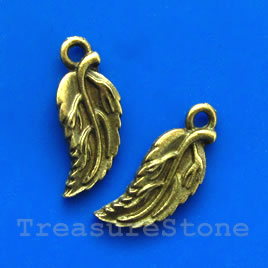 Charm, bronze-finished, 14x20mm Leaf. Nickel Free. Pkg of 12.