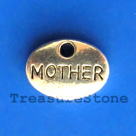 Charm/pendant, silver-plated, MOTHER. Pkg of 15.