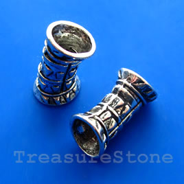 Bead, silver-finished, large hole, 11x22mm curved tube. 3pcs
