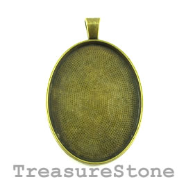 Pendant/Frame, brass-finished, 32x42mm oval. Each.
