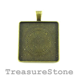 Pendant/Frame, brass-finished, 32mm square. Each.