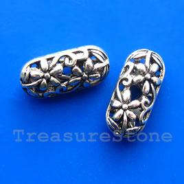 Bead, antiqued silver-finished, 10x22x8mm filigree. Pkg of 3.