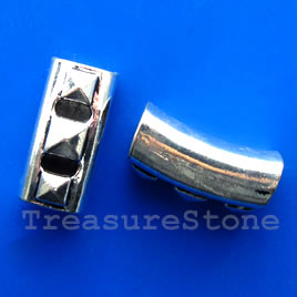 Bead, silver-finished, 14x28mm curved tube, large hole. Each