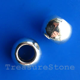 Bead, antiqued silver-finished, 11x15mm rondelle. Pkg of 3.