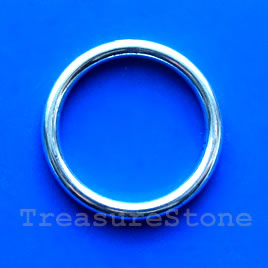Bead, silver-finished, 32mm circle. Pkg of 2.