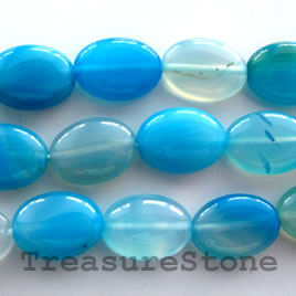 Bead, agate (dyed), light blue, 10x13mm puffed oval. 16-inch.