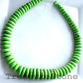 Dyed turquoise, lime green, 10-25mm graduated rondelle. 18-inch.