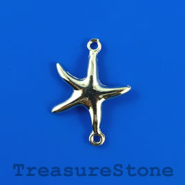 Link/charm, silver-finished, 20x27mm starfish. Pkg of 5