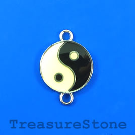 "Charm/Pendant/link, silver-plated, 20mm ""Yin Yang"". Pkg of 2."
