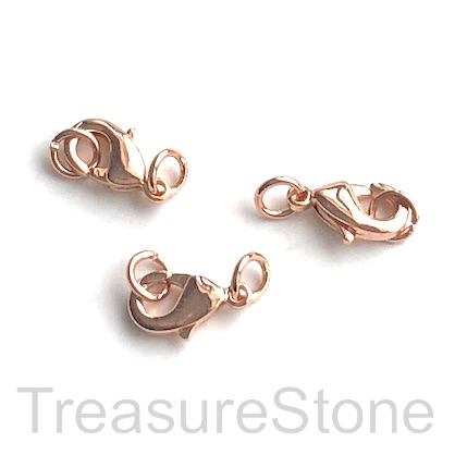 Clasp, lobster claw, rose gold-finished, 8x5mm. Pkg of 5.