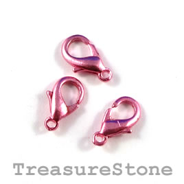 Clasp, lobster claw, pink-finished, 10x6mm. Pkg of 20.