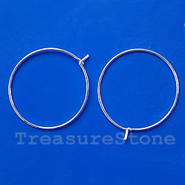 Earring, silver-plated brass, 47mm round hoop. Pkg of 4 pairs.