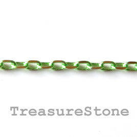 Chain,brass, light-green-gold finished,2x4mm rectangle. 1 meter.