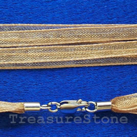 Cord, ribbon w sterling silver clasp, connector, gold, 18 inch