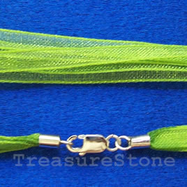 Cord, ribbon w sterling silver clasp, connector, green, 18 inch