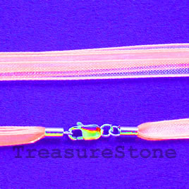 Cord, ribbon w sterling silver clasp, connector, rose,18 inch