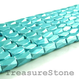 Bead, magnetic, 5x8mm light turquoise,18 faceted barrel. 16 inch