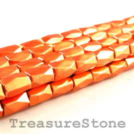 Bead, magnetic, 5x8mm orange, 18 faceted barrel. 16 inch strand