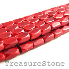 Bead, magnetic, 5x8mm red, 18 faceted barrel. 16 inch strand