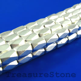 Bead, magnetic, 5x8mm white, 18 faceted barrel. 16 inch strand