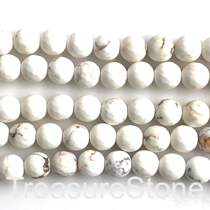 Bead, magnesite, 8mm faceted round. 15-inch, 47pcs