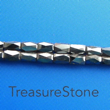 Bead, Magnetic, 4x6.5mm 18 faceted barrel. super power. 13 inch.