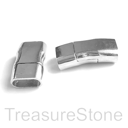 Clasp, magnetic, rhodium, 15x31x8mm, cord, 5.5x12mm. ea