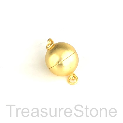 Clasp, magnetic, gold-colored, matte, frosted, 12mm. Ea