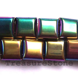 Spacer bead, magnetic, 10mm rainbow 2-hole pillow. Pkg of 50.