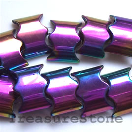 Spacer bead, magnetic, 13x18x5mm rainbow wave 2-hole. Pkg of 50.